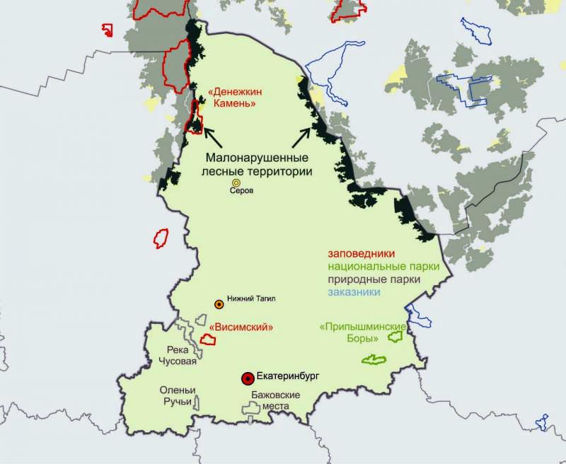 МЛТ занимают всего 4% от территории Свердловской области и ни в одной ООПТ, кроме заповедника «Денежкин Камень», не сохраняются