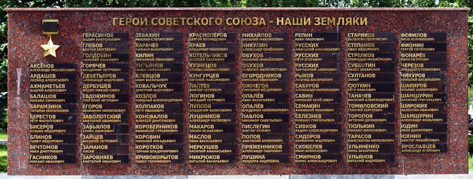 Мемориальная стела Героям Советского Союза у Вечного огня в городе Ижевске